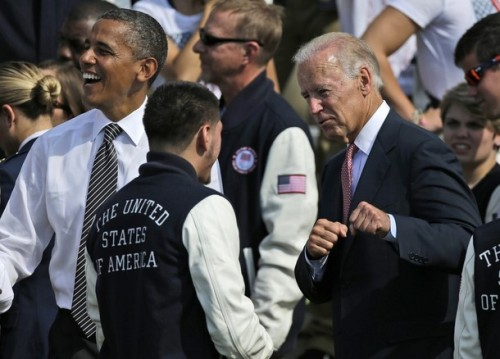 Vice President Joe Biden jokes around with US Olympic boxer Jose Ramirez, Sept. 14, 2012, during a ceremony to welcome the 2012 U.S. Olympic and Paralympic teams to the White House.
