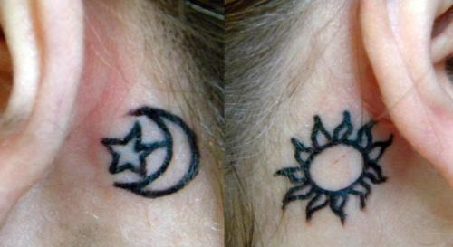 My sun and moon tattoos inspired by the Pagan God and Goddess. Done by Jenny Hickey in Fresno, CA.