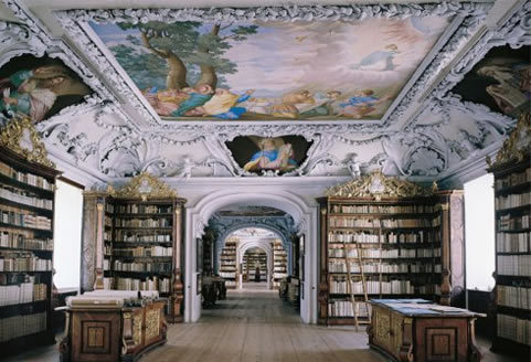 "Kremsmünster Abbey Library, the magnificent monastery library was built between 1680 and 1689, also by Carlo Antonio Carlone. It is one of the great libraries of Austria and contains about 160,000 volumes, besides 1,700 manuscripts and nearly 2,000 incunabula. The most valuable book is the ""Codex Millenarius"", a Gospel Book written around 800 in Mondsee Abbey. Facsimiles of this codex may be found in the libraries of a number of universities throughout the world."