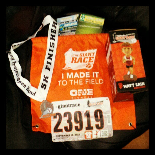 My Giant Race goodies. Medal, MCain bobblehead…Two more races?? Hmmm. #giantrace (Taken with Instagram)