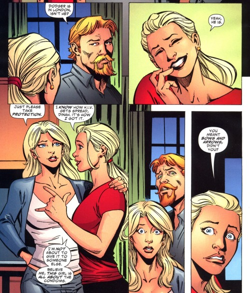 snapiphany:  Green Arrow & Black Canary #15 I'm pretty sure there's a trick arrow for that, too, Mia.