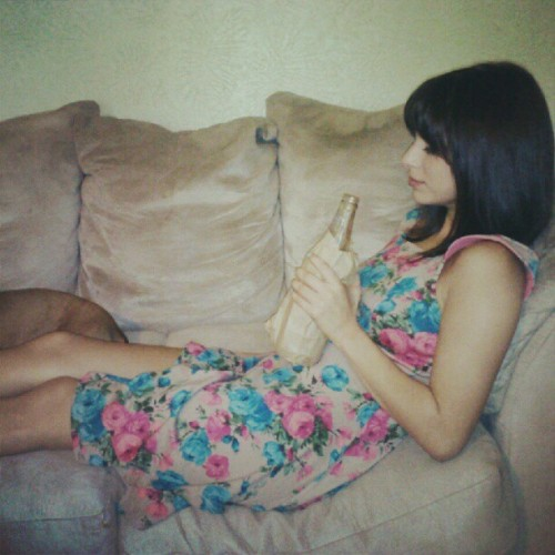 jackieeev:  Lol just having a drink #drinking #lounging #prettydress #relaxing (Taken with Instagram)