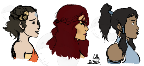 Coloured profile concepts of Maalai, Riley and Akiak respectively for the Renegade's Journey project. Used a few screenshots of Korra at the end of her firebending test from the first episode for reference, jsyk.
