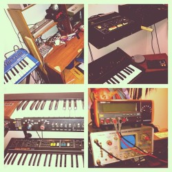 My homies vintage analog collection in his studio is so dope!!!! This is where a majority of you producers sounds came from. 808's & Roland synths have been around way before popular commercial rap music. Learn your history. (Taken with Instagram)