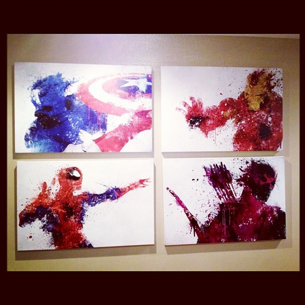Assembling some Avengers artwork in the home office, thanks to the talented Melissa Smith! (Taken with Instagram)