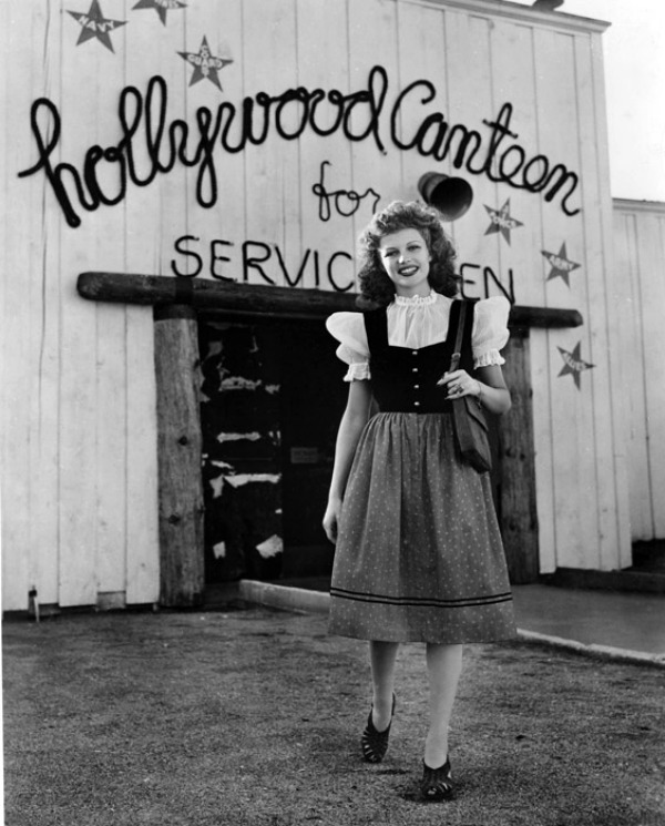 forlovelyritahayworth:   Rita at the Hollywood Canteen.