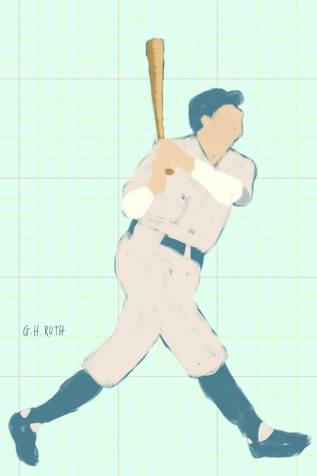Drawing of Babe Ruth, done using the Brushes app on iPod touch. http://flipflopflyin.com/g/2012/09/babe-ruth/