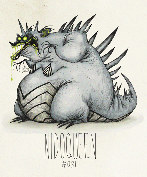 hatboy:  Nidoqueen #031 (Tim Burton Inspired Pokemon Re-Design)