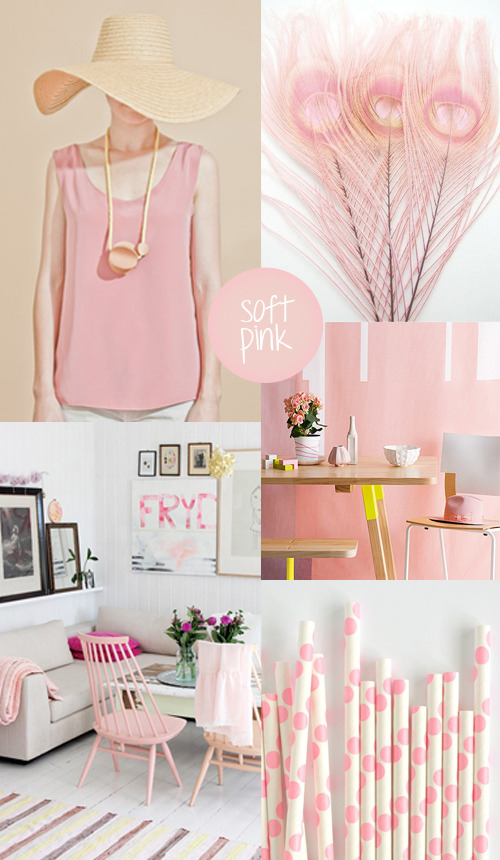 Color my style: Soft pink Today a style with some soft shades of pink. This color can both look romantic and modern. It's pretty on its own or mixed with whites and neutrals. I love soft pink because it gives me a dreamy feeling. Images: Brook&Lyn | Feathers | Homelife | House and home | Etsy more Color my style here