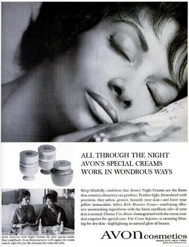 Pioneering model Helen Williams, in a 1960s Avon cosmetics advertisement.