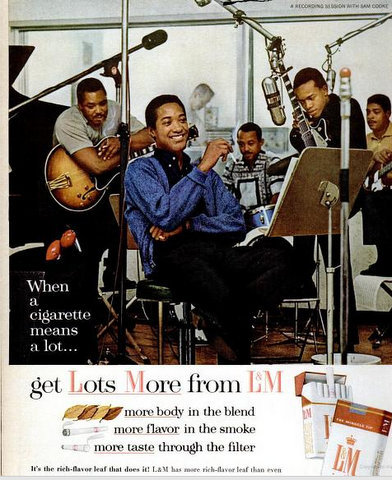 Sam Cooke in an advertisement for L&M cigarettes that appeared in the April 1964 issue of Ebony.
