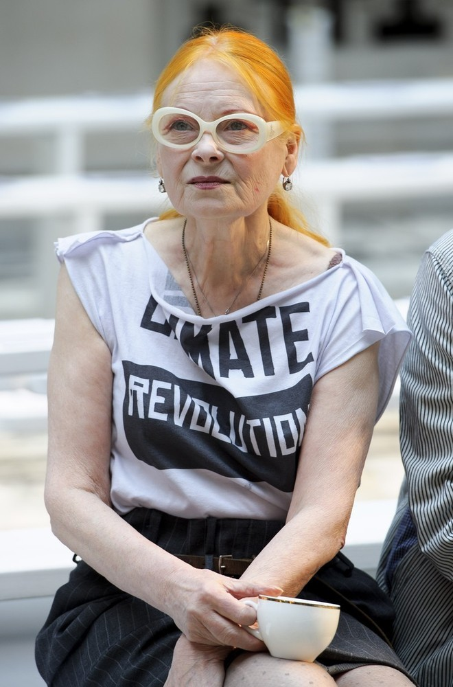 suicideblonde:  Vivienne Westwood before the Vivienne Westwood Red Label Spring/Summer 2013 show during LFW, September 16th