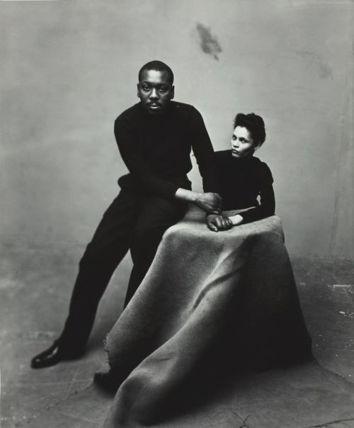 vintageblackglamour:  The iconic artist Jacob Lawrence and his wife Gwen Knight, also an artist, photographed by Irving Penn in New York on February 18, 1947. Photo: Condé Nast Publications.
