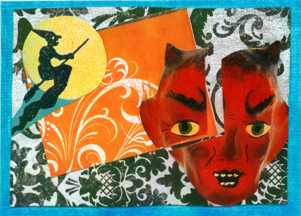 Halloween ATC for the next Swap.  I like the devil in the corner, he's all retro-creepy.