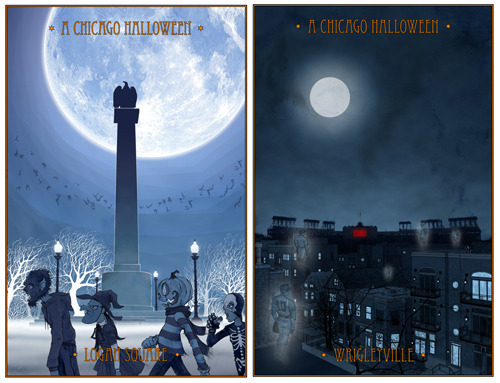 "Just in time for Halloween ""A Chicago Halloween - Logan Square"" will once again be available for purchase at Wolfbait & B-girls. Prints should be in the store by September 19th. I couldn't be happier… Oh… Wait… Yes, I can. I'm pleased to say that this year both ""A Chicago Halloween - Logan Square"" and ""A Chicago Halloween - Wrigleyville"" will also be available locally at Virtu, starting October 1st. Super cool! Right? But wait, there's more! Starting this Halloweenie season a portion of all proceeds made from the ""A Chicago Halloween"" series will be donated to Illinois Action for Children. Illinois Action for Children is a local non-profit that works with low-income, hard-to-reach families to ensure that all children have access to high-quality early child care and education opportunities. There, now you have no reason not to get out there and buy yourself, or someone you love, a sweet print to awesome up your Halloween!"