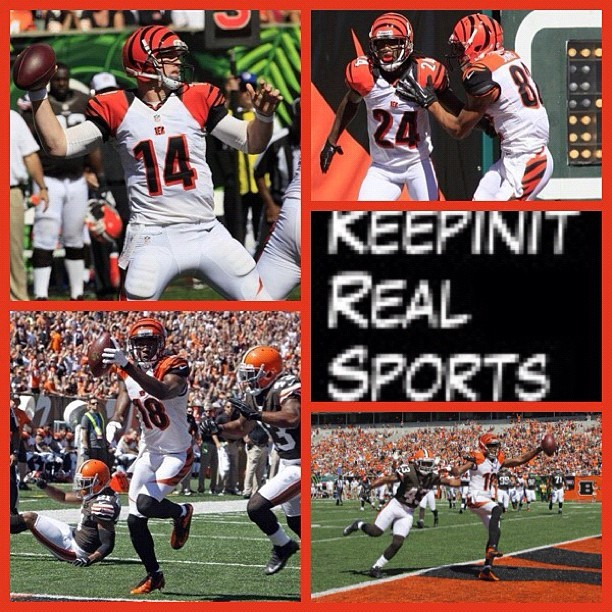 NFL:  Browns 27 (0-2, 0-1 away) Bengals 34 (1-1, 1-0 home) FINAL  Top Performers Passing: B. Weeden (CLE) - 322 YDS, 2 TD Rushing: T. Richardson (CLE) - 19 CAR, 109 YDS, 1 TD Receiving: M. Massaquoi (CLE) - 5 REC, 90 YDS  myspace.com/keepinitrealsports  theofficialkeepinitrealsports.blogspot.com  keepinitrealsports.tumblr.com  pinterest.com/mysterkeepinit  Instagram - @Myster_Keepinit  Twitter - @MysterKeepinit  keepinitrealsports.wordpress.com  flickr.com/keepinit_real_sports  #keepinitrealsports #NFL #Football #Browns #Bengals #Weeden #Richardson #Massaquoi #Sports #MysterKeepinit  (Taken with Instagram)