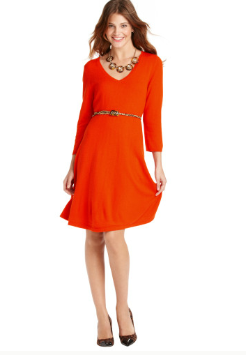 I tried this dress on at LOFT today. It is really cute and flattering and cozy. Now, I'm just waiting for a coupon code because I refuse to pay full price for anything from there. See also: Banana Republic, J. Crew, Gap, and any internet website. Note: Runs large. I was swimming in a small.