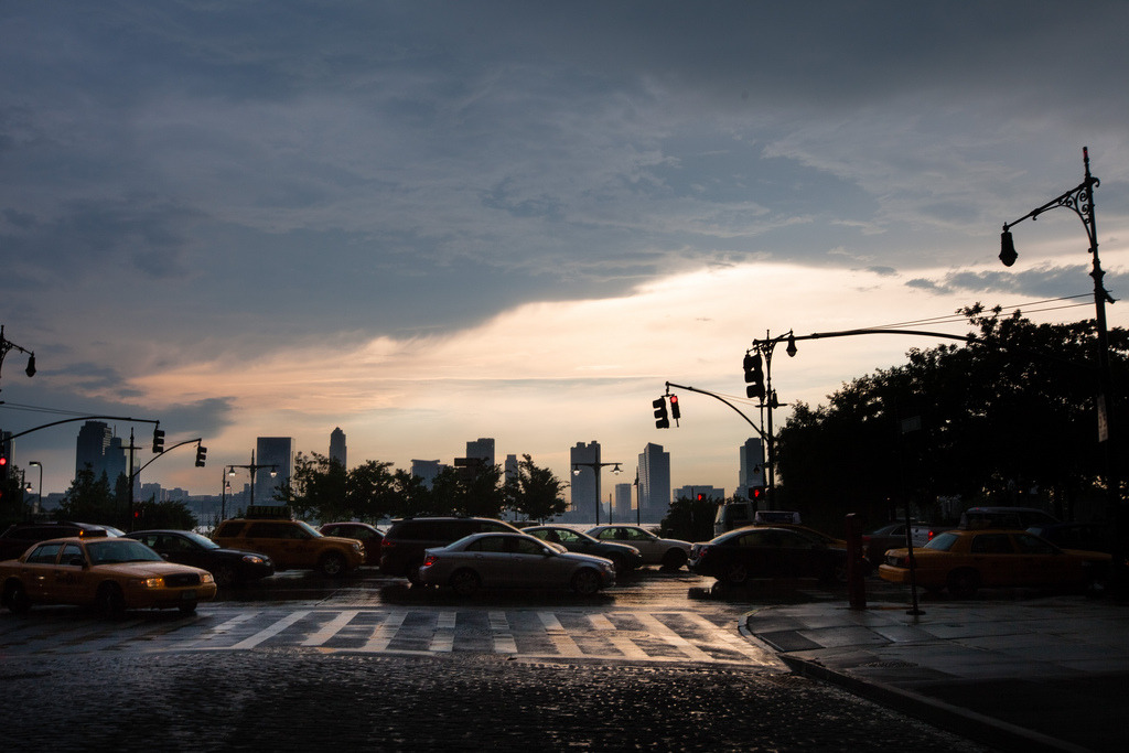 The West Side Highway as clouds clear after a storm in time for the sunset. I like rainstorms in the summer anywhere, but they seem especially beautiful — before, during, and after — in New York