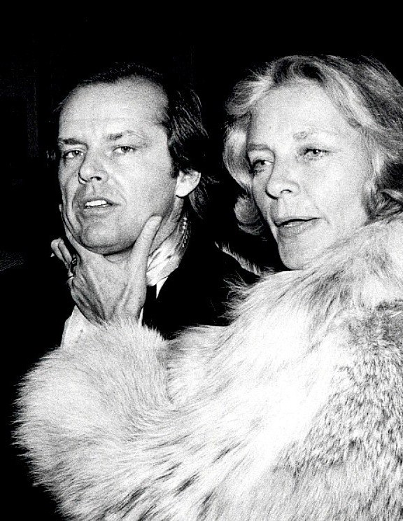 Candid of Jack Nicholson and Lauren Bacall at an event in 1976.