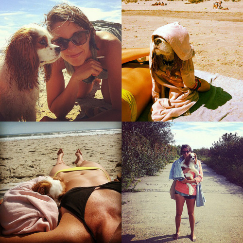 Me and the pups and Crista at the beach.