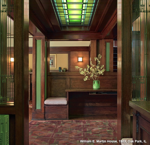 prairieschoolarchitecture:  Frank Lloyd Wright, William E Martin House Interior, Oak Park, Illinois, 1903 James Caulfied, photographer