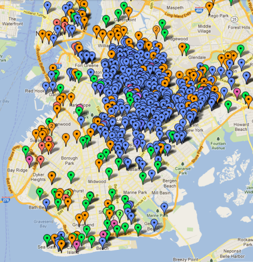 ronan-aodhan:  Four Years of Homicide in Brooklyn With 2.5 million residents, Brooklyn is the most populous of New York City's five boroughs. An independent city until 1898, Brooklyn remains famous for its history, its thriving ethnic communities, its architecture, its diversity, and its long-standing influence on America's artistic and creative culture. Although developers seek to sanitize and gentrify parts of Brooklyn and the city government seeks to fudge crime statistics for the same purpose, Brooklyn remains for many people infamous for its crime. The map portrays the locations of over six hundred homicides that have taken place since 2009 - 149 in 2009, 184 in 2010, 171 in 2011, and 113 so far in the year 2012. This is an incredible decrease since the years of decades past - in 1990 the stretch of north Brooklyn from Williamsburg to East New York had seven hundred homicides alone, far more than the entire city had in 2011. Due to widespread public misconception about historical decreases in crime, where crime occurs, who commits crime, who are the victims of crime, and how crime is recorded and studied, it remains a criminologist's duty to portray the reality of crime in a locale accurately. Each marker represents one victim; multiple homicides are designated by a number. Green markers indicate white victims - generally on this map, Italians, Jews, Russians, Irish, Albanians, and other European-descended persons Blue markers indicate African-American victims Orange markers indicate Latino victims - generally on this map, Dominicans, Puerto Ricans, Colombians, Cubans, Mexicans, et al Red markers indicate Asian victims - generally on this map, Chinese, Indian, and Pakistani persons. Purple markers indicate Middle-Eastern or African immigrant victims - such as Ethiopians, Arabs, Nigerians Most obviously, the innermost neighborhoods of Bedford-Stuyvesant, Brownsville, Bushwick, Crown Heights, and East New York remain the most troubled with homicide, and nearly every victim is a young black male. Radiating outward, even neighborhoods that have experienced gentrification like Williamsburg, downtown Brooklyn, and Cobble Hill suffer murder rates far higher than comparable neighborhoods in Manhattan. Flatbush Avenue marks a clear racial divide both in population and in victimology: in the south Brooklyn neighborhoods of Bensonhurst, Sheepshead Bay, and Gravesend there is a preponderance of both white victims and white killers, in a large part due to the influences of Italian and Russian organized crime. Despite the image of Brooklyn as wholly consumed with homicide, there are enclaves like Borough Park, Bay Ridge and Park Slope where homicide is quite unknown - all of them tending to be affluent neighborhoods with a history of being unwelcoming to outsiders of race and class. One difference between the modern day and the New York of the past is that as more wealth is concentrated in the hands of fewer people, the affluent can afford to segregate themselves in heavily policed communities, even when those communities exist through the displacement of original residents - they can avoid the effects of poverty and marginalization through the protection afforded them by state violence, without having to confront the harsh realities that many residents of New York face on a daily basis.