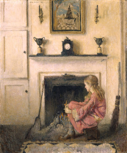Lilian Westcott Hale, Alice (1925)  Lilian Westcott Hale enjoyed a national reputation for her portraits and domestic scenes, painted in a carefully drawn, politely impressionist style. Like Mary Cassatt and other female artists of her day, Hale devoted much of her attention to the sheltered world of women, especially girls. Alice (Sit-by-the-Fire) offers a moment of introspection, the silence accented by the soft lighting and muted tones of the artist's palette. The artist also bathes the scene in warm nostalgia for a simpler time - note the colonial-period interior, which is actually the artist's studio in Dedham, Massachusetts.        Artnc.org