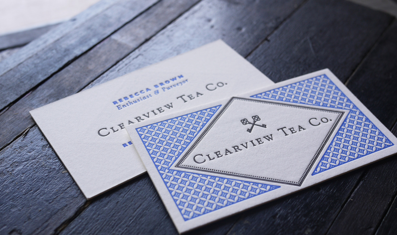 Two color, double sided cards for Clearview Tea Co. Letterpress printed on 220lb Crane Lettra.