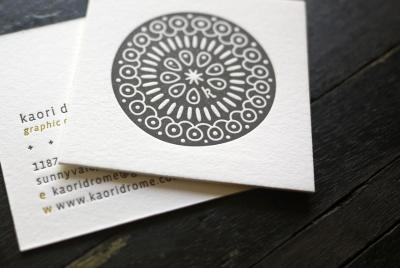 hobanpress:  Some lovely square letterpress printed cards we made for the talented Kaori Drome.