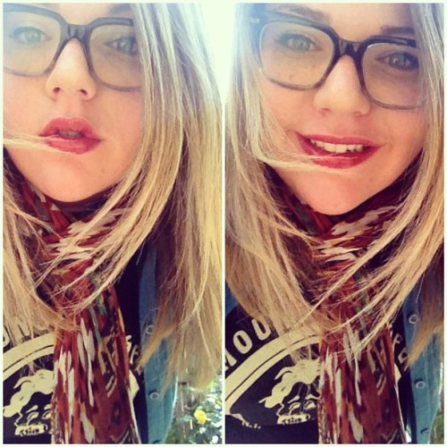 Cherried lips, smoothed hair #gpoy #scarfweather 🍁🍃🍂 (Taken with Instagram)