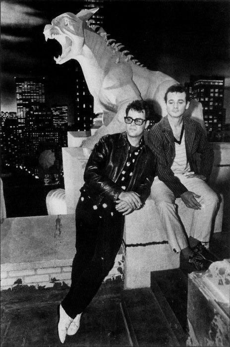 One of the coolest behind the scenes photos ever: Bill Murray and Dan Aykroyd on the Set of Ghostbusters