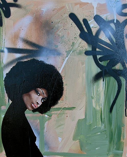 wakeupblackpower:  Afro canvas from a NY showcase.