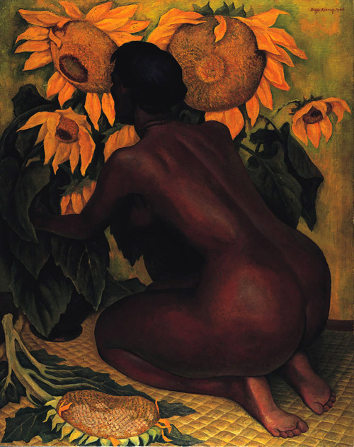 surrealappeal:  Diego Rivera, Nude with Sunflowers, 1946.