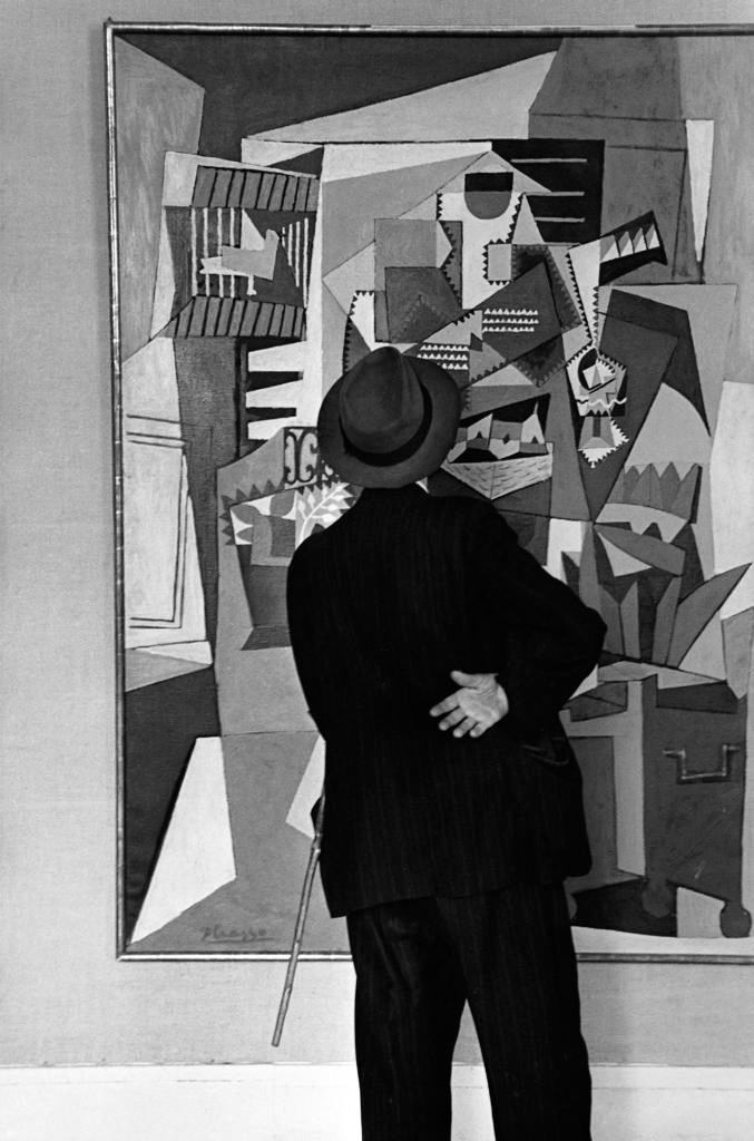 "Edouard Boubat, Admiring ""The Bird Cage"" by Picasso"