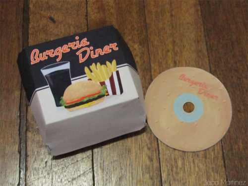 Burgeria Diner CD packaging I have to admit that part of my reason for doing a game about burgers is being able to make a burger box for the packaging haha :)) Read more