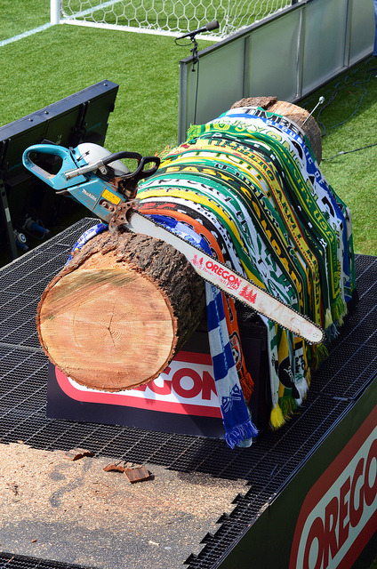 pre game on Flickr.Chainsaw, log, scarves… Pre Game Timbers!