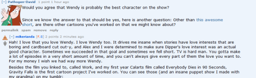 oh oh oh man, talk of wendy not being used as a plot device. Squee