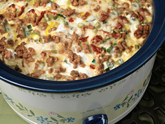 "iwannamakethat:  Slow Cooker Sausage Breakfast Casserole Ingredients: 1 pkg. (26 ounces) frozen shredding hash brown potatoes 1 pkg. Jimmy Dean® Hearty Original Sausage Crumbles 1 cup (4 ounces) shredding mozzarella cheese 1/2 cup (2 ounces) shredding parmesan cheese 1/2 cup julienne cut sun dried tomatoes packed in oil, drained 6 green onions, sliced 12 eggs 1/2 cups milk 1 teaspoon salt 1/4 ground black pepper   Directions: 1. Spray a 6 quart slow cooker with cooking spray. Layer 1/2 of the potatoe on the bottom of slow cooker.  2. Top with half of the sausage, mozzarella and Parmesan cheese, sun dried tomatoes and green onion. Repeat layering. 3. Beat eggs, milk and pepper in large bowl with a wire whisk until well blended.  4. Pour evenly over potato-sausage mixture. 5. Cook on low setting for 6-8 hours or on high setting for 3-4 hours or until eggs are set.  12 servings (about 1 cup each)  I disagree.  I wish no one had ever invented this ""Breakfast Casserole"" thing.  I've been forced to eat it once, and forced to politely decline on another occasion.  Just stop it."