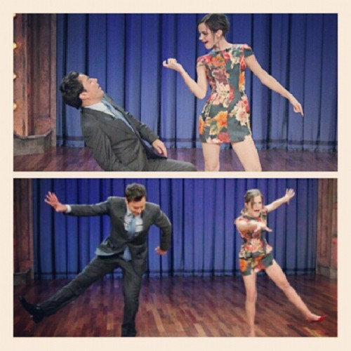Its hard not to love her! #emmawatson #jimmyfallon #dancing #grease #singingintherain (Taken with Instagram)