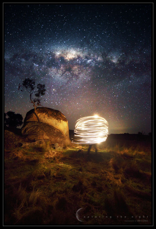 ikenbot:  Beam Me Up Scotty!  Dark skies, long exposure, and head torch on a string = fun under the stars. Single 30 second exposure.