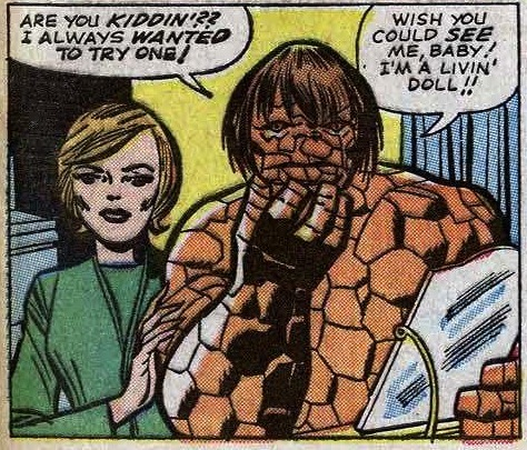 dudesmacdougal:  mattasticfour:  AAAAH Fantastic Four #34 (1965)  The Thing tries on a Beatles wig
