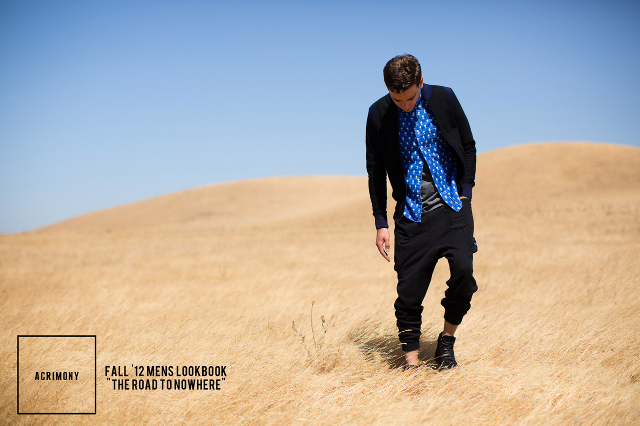 Acrimony Fall '12 Mens Lookbook: The Road to Nowhere. No matter what your journey, where your destination, or what awaits you when you arrive, always be well dressed.  Photographed in Northern California by Cody Rasmussen Styled by: Jacob Wendt and Jenny Chung Brands: Robert Geller, DRKSHDW by RIck Owens, Odyn Vovk, Kai-aakmann, P.A.M., wings + horns, Reigning Champ, Lifetime Collective, Rachel Comey, Gitman Brothers Vintage, ISAORA, Miansai, C.P. Company