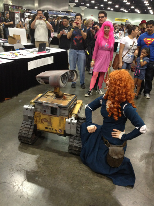 alltimeywimey:  Wall-E had a crush on Merida, and just kept swooning at her. Everyone around = T_T