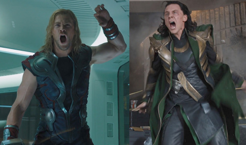 hotrodngold:  aomiarmster:  Here, have an out of context screaming Thor and Loki!  -YOUR MOTHER WAS A HAMSTER! -OH, VERILY? WELL, YOUR FATHER SMELT OF JOUTUN BERRIES!  Monty Python Jokes: Always Relevant