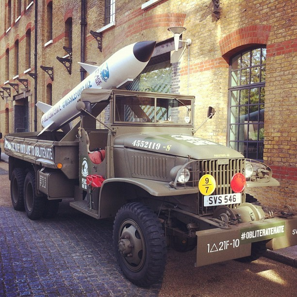 Missile mounted on a WWII army truck parked outside Leo's. As you do. #ObliterateHate (Taken with Instagram at Leo Burnett London)