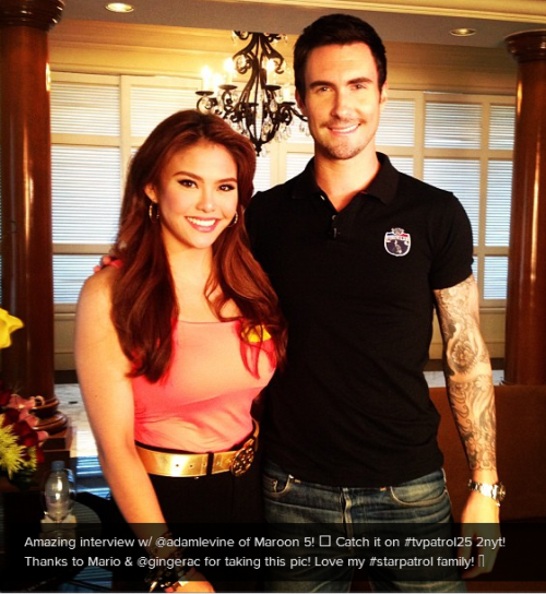 Gretchen Fullido is sooooo going to do Adam Levine. We'll just read it in @fashionpulis. Bahahahaha!  Adam Levine talks about style, fashion Maroon 5 frontman Adam Levine met with the media and his fans on Monday, ahead of his band's one-night concert at the Araneta Coliseum on September 18. (PHOTO: ABS-CBN Star Patroller Gretchen Fullido with Adam Levine. Photo from Fullido's Instagram page)