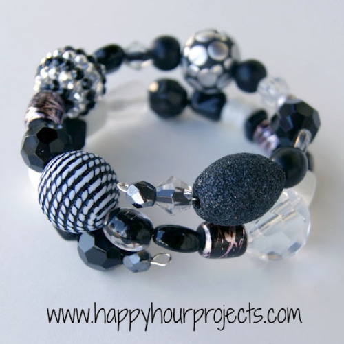 truebluemeandyou:  DIY Memory Wire Beaded Wrap Bracelet Tutorial form Happy Hour Projects here. I love memory wire for wrap bracelets. I've used it with smaller beads to get a four or five wrap bracelet. Bonus: no clasps. *For lots more easy, beginner projects from Happy Hour Projects go here: truebluemeandyou.tumblr.com/tagged/happy-hour-projects