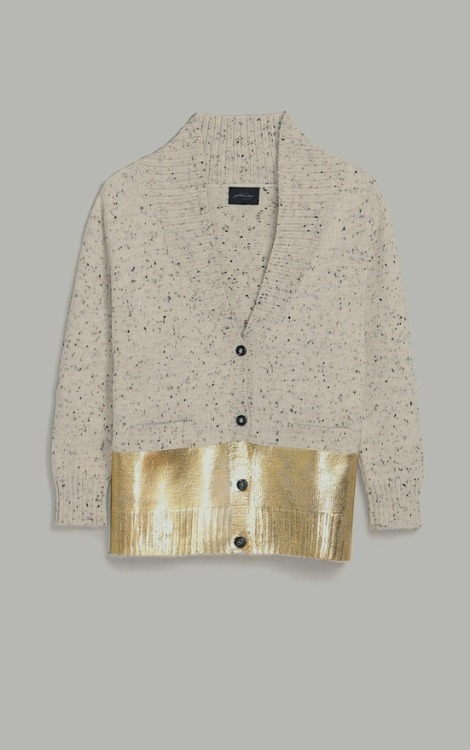 I do like this wool with gold stripe cardigan…