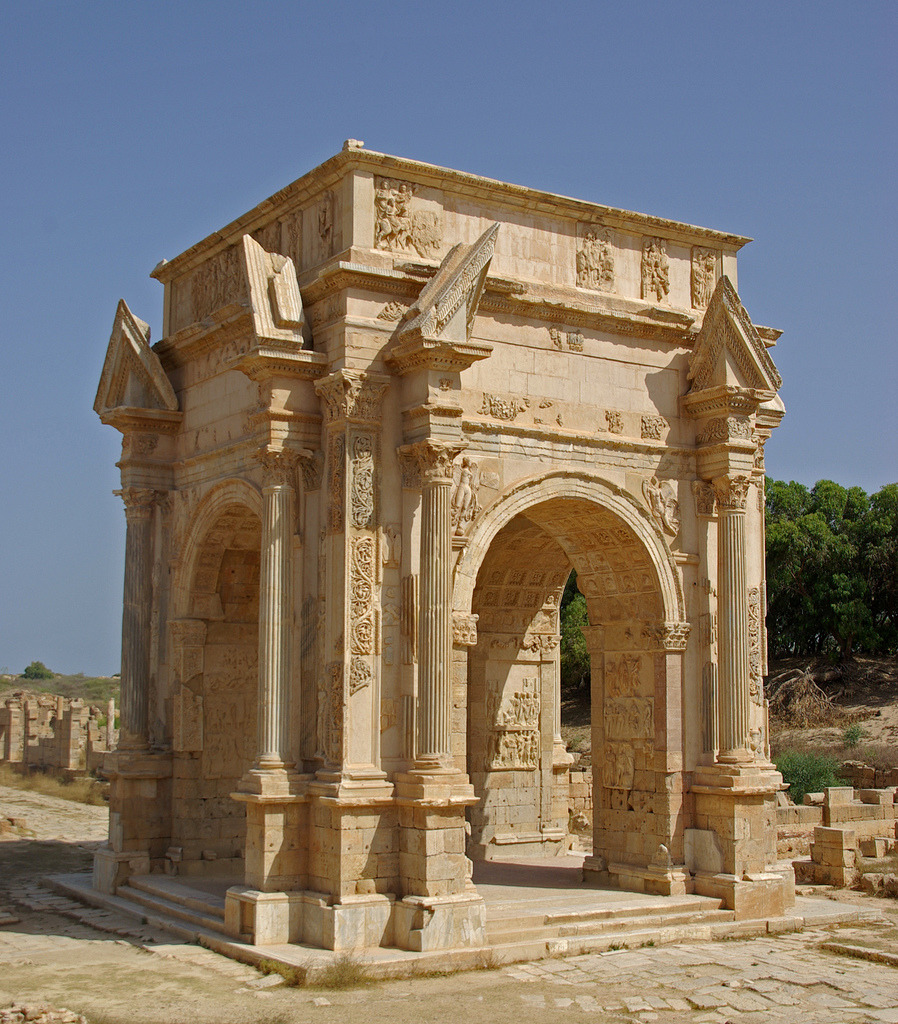 arch of septimius severus in leptis magna ancient rome buildings. Black Bedroom Furniture Sets. Home Design Ideas