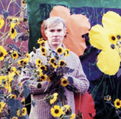 Andy Warhol amongst his flowers